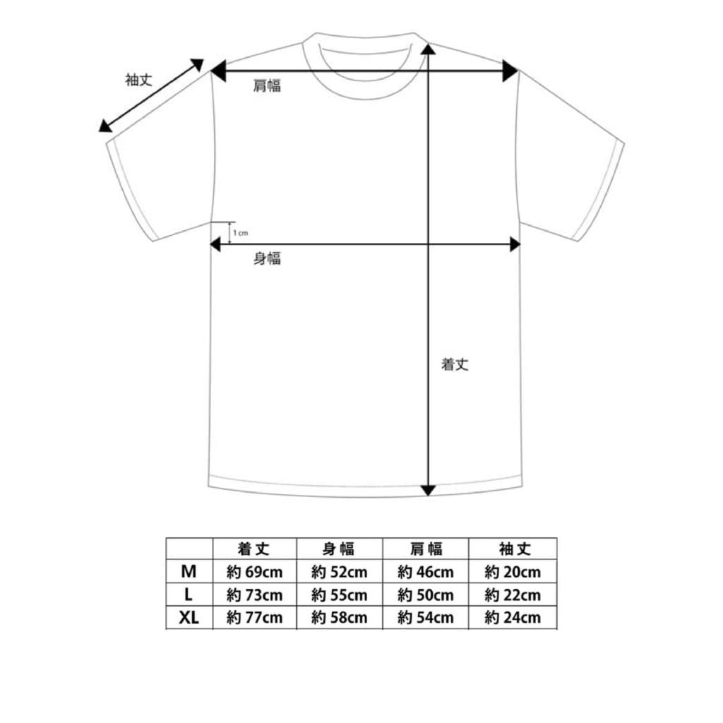 Tシャツサイズ表,3タイプ